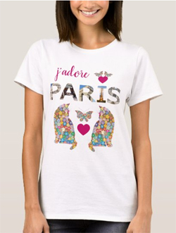 j'adore Paris T-shirt, with cats in love and butterflies