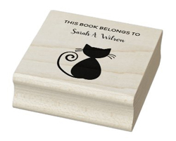 This book belongs to rubber stamp with an elegant, artsy cat