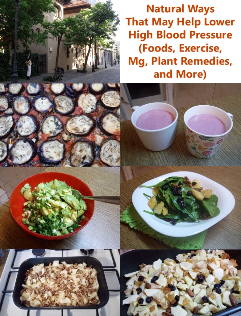 Collage with foods that may help lower high blood pressure, and an urban scene to point to exercise and weight loss