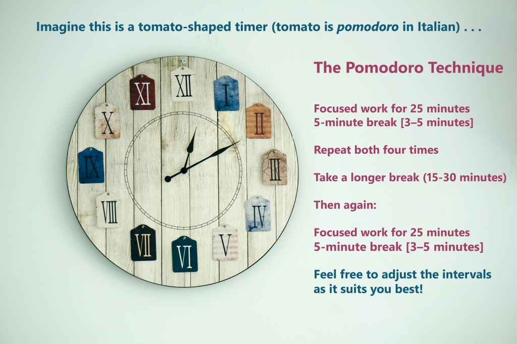 Image with a wall clock and text describing Francesco Cirillo's time-management method known as the Pomodoro Technique