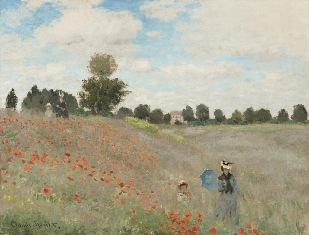 Claude Monet, Poppies/Poppy Field (Coquelicots) (1873)