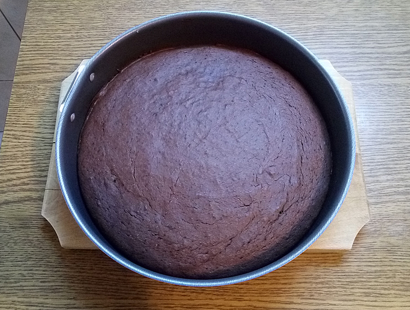 Cocoa cake layer, baked