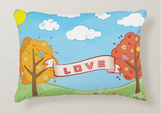 LOVE pillow for kids with trees in autumn and birds holding a large banner for encouragement