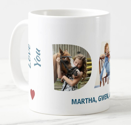 Love you Dad photo mug (with 3 custom photos in see-through, transparent DAD letters)