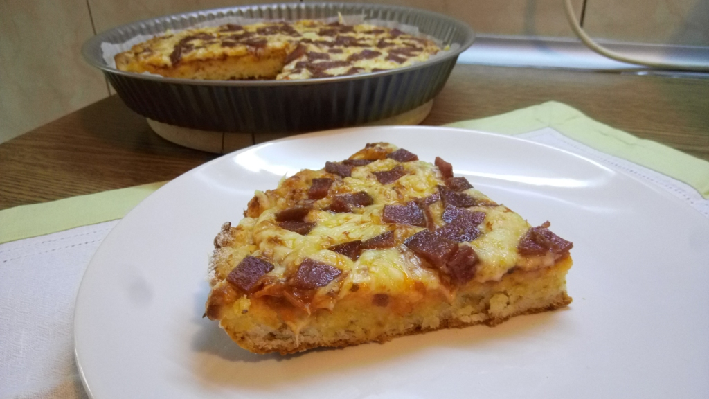 Tasty and chewy cheesy pepperoni pizza, gluten-free