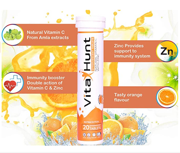 Nutraceutical aka natural vitamin c with zinc, effervescent tablets