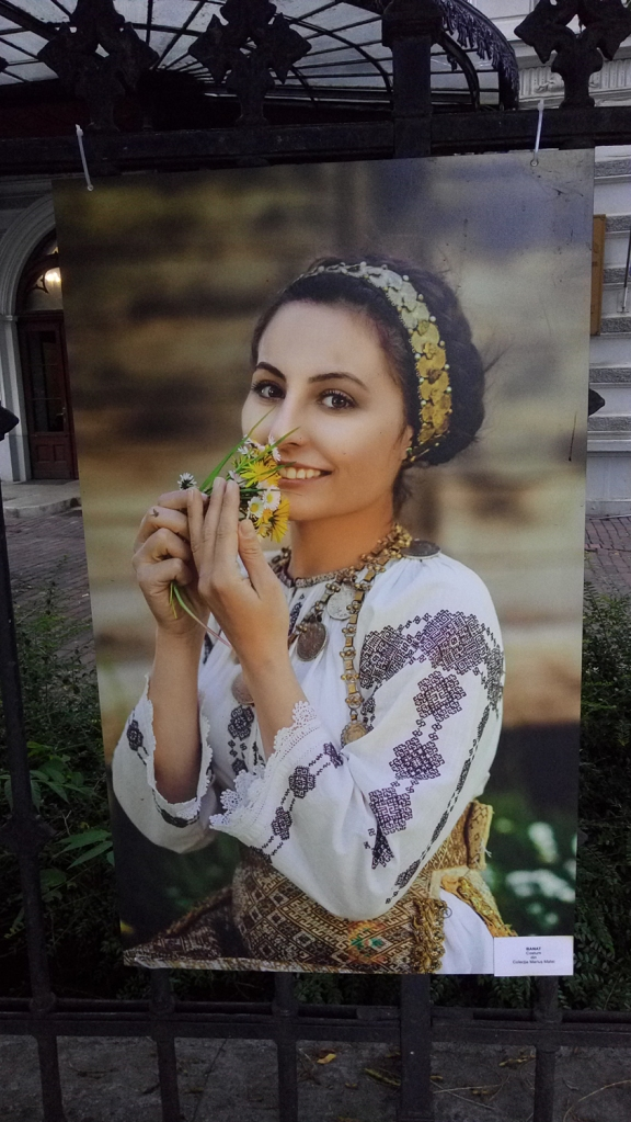 Woman dressed in a traditional costume from the Banat region, Romania