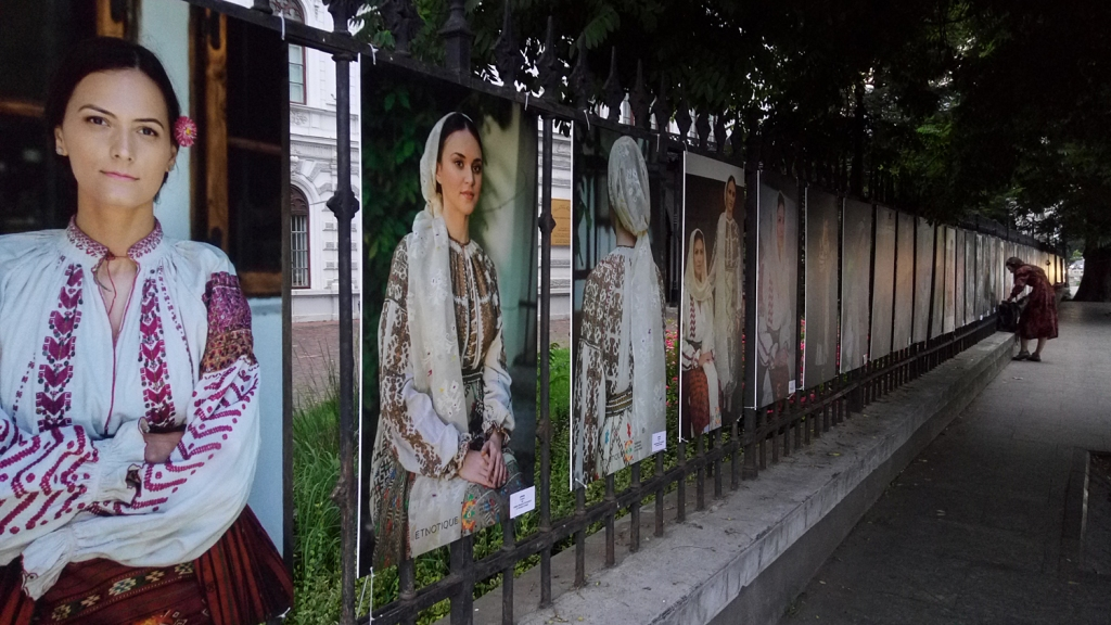 Photos of Romanian folk costumes at University Square, Bucharest, Romania