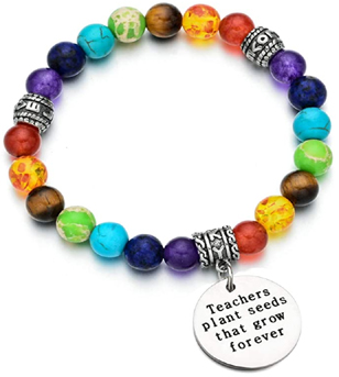 """Gift bracelet for a woman teacher with the engraved quote """"Teachers plant seeds that grow forever"""""""