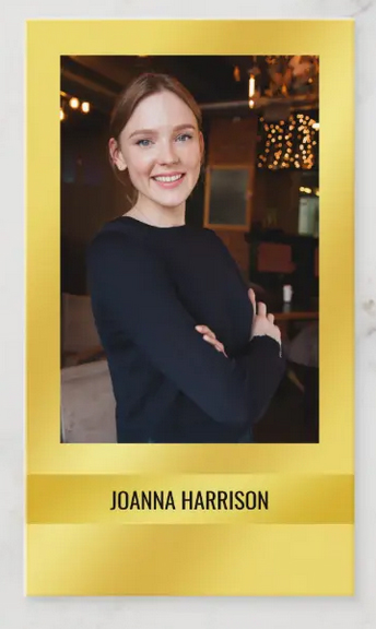 Elegant photo business card on a luscious golden background