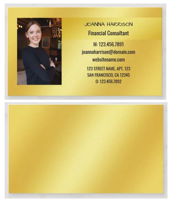 Elegant photo business card, shimmery golden background, horizontal, name in cursive script