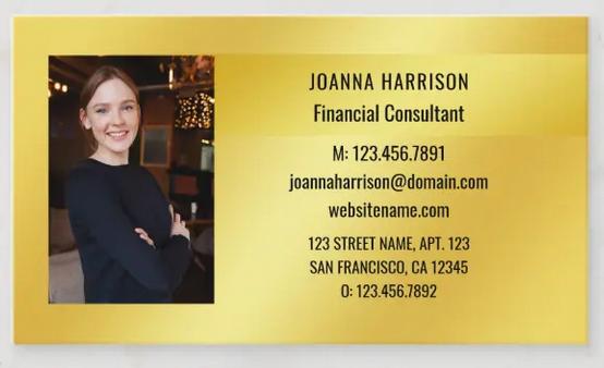 Stylish, elegant minimalist photo business card on a shimmery gold background, horizontal