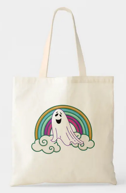 Funny Halloween unicorn, looking like an amusing ghost rising out of the clouds