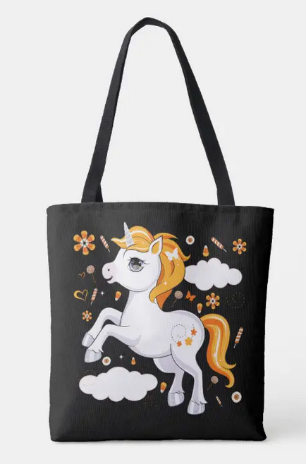 Super cute Halloween unicorn with orange mane and tail, frolicking among clouds and candy corn