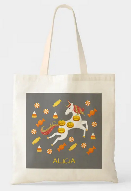 Unicorn carrying jack-o-lantern pumpkins, flying through Halloween candy