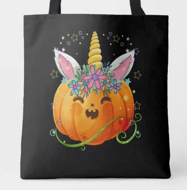 Smiling pumpkin with a unicorn horn. Has a funny toothy grin.